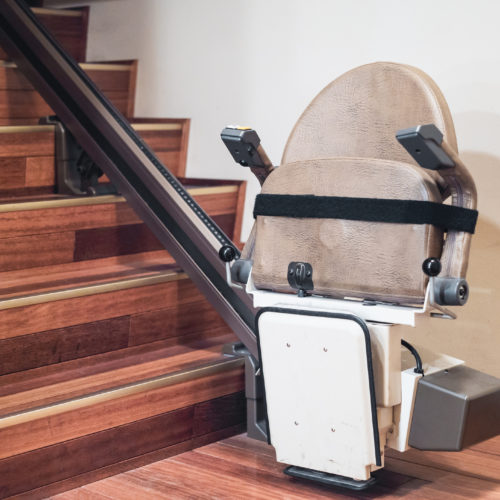 Stairlift at the bottom of stairs