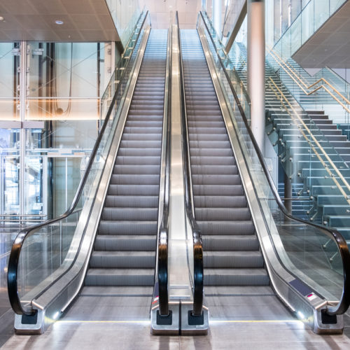 double escalators with lifts and staircase